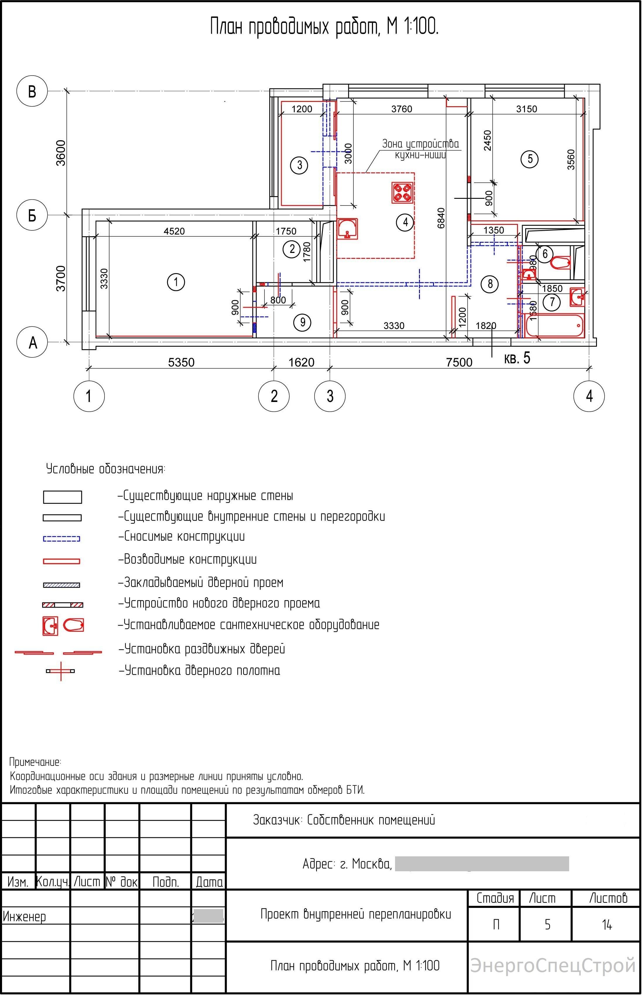 Проект перепланировки квартиры 1